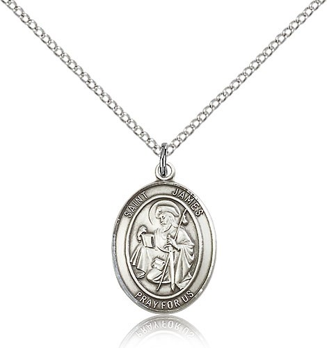 "St. James the Greater Medal, Sterling Silver, Medium - 18"" 1.2mm Sterling Silver Chain + Clasp"