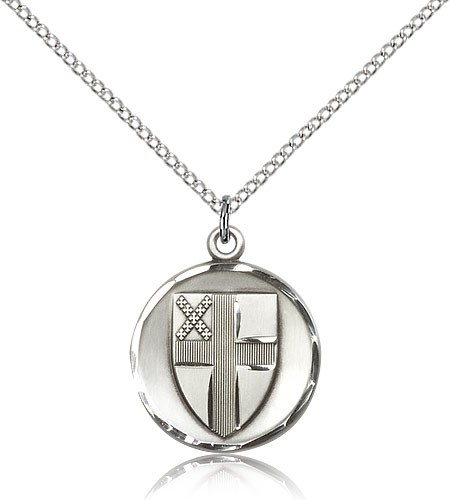 "Episcopal Medal, Sterling Silver - 18"" 1.2mm Sterling Silver Chain + Clasp"