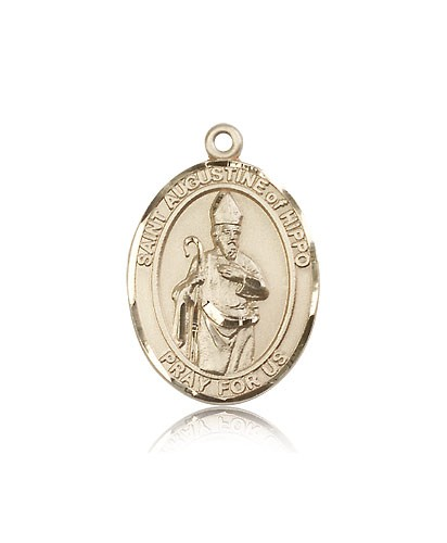 St. Augustine of Hippo Medal, 14 Karat Gold, Large - 14 KT Yellow Gold