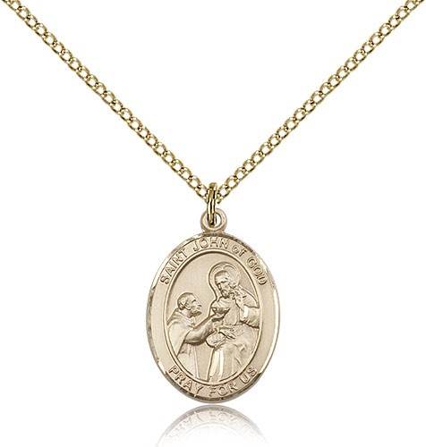 St. John of God Medal, Gold Filled, Medium - Gold-tone