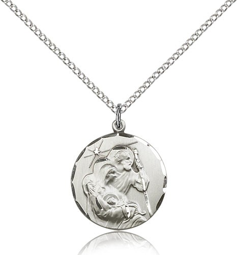 "Holy Family Medal, Sterling Silver - 18"" 1.2mm Sterling Silver Chain + Clasp"