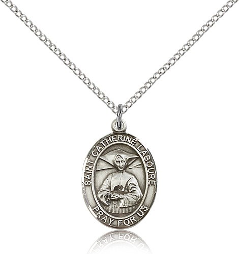 "St. Catherine Laboure Medal, Sterling Silver, Medium - 18"" 1.2mm Sterling Silver Chain + Clasp"
