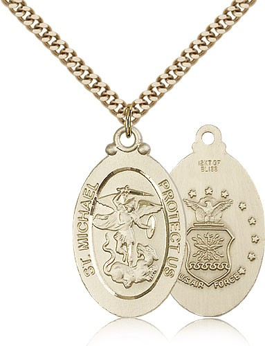 "St. Michael Air Force Medal, Gold Filled - 24"" 2.4mm Gold Plated Endless Chain"