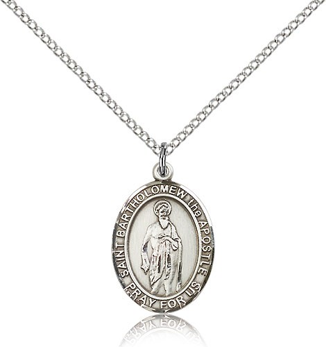 "St. Bartholomew the Apostle Medal, Sterling Silver, Medium - 18"" 1.2mm Sterling Silver Chain + Clasp"