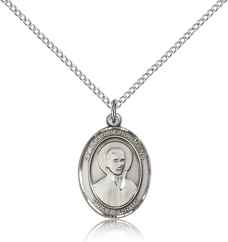 "St. John Berchmans Medal, Sterling Silver, Medium - 18"" 1.2mm Sterling Silver Chain + Clasp"