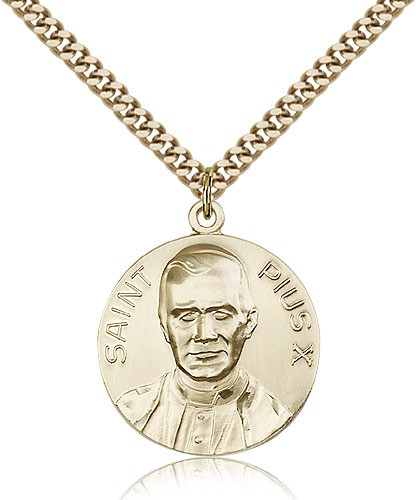 "Pope Pius X Medal, Gold Filled - 24"" 2.4mm Gold Plated Endless Chain"