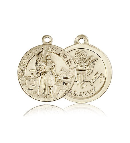 St. Joan of Arc Army Medal, 14 Karat Gold - 14 KT Yellow Gold
