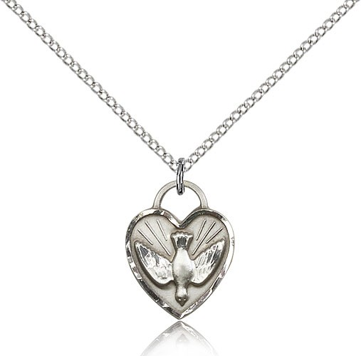 "Confirmation Heart Medal, Sterling Silver - 18"" 1.2mm Sterling Silver Chain + Clasp"