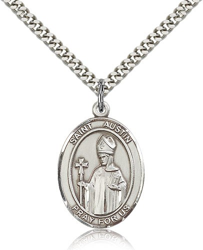 "St. Austin Medal, Sterling Silver, Large - 24"" 2.4mm Rhodium Plate Chain + Clasp"