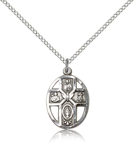 "5 Way Cross Holy Spirit Medal, Sterling Silver - 18"" 1.2mm Sterling Silver Chain + Clasp"