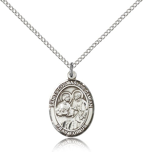 "Sts. Cosmas and Damian Medal, Sterling Silver, Medium - 18"" 1.2mm Sterling Silver Chain + Clasp"