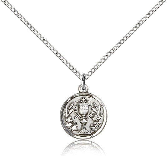 "Communion Chalice Medal, Sterling Silver - 18"" 1.2mm Sterling Silver Chain + Clasp"