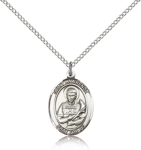 "St. Lawrence Medal, Sterling Silver, Medium - 18"" 1.2mm Sterling Silver Chain + Clasp"