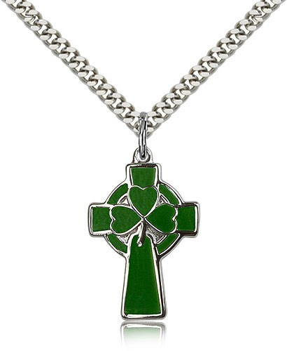 "Celtic Cross Pendant, Sterling Silver - 24"" 2.4mm Rhodium Plate Endless Chain"