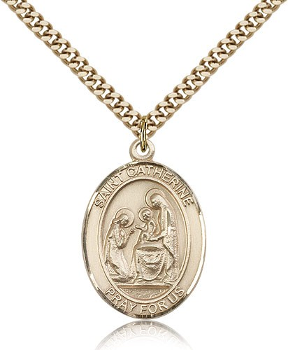 "St. Catherine of Siena Medal, Gold Filled, Large - 24"" 2.4mm Gold Plated Chain + Clasp"