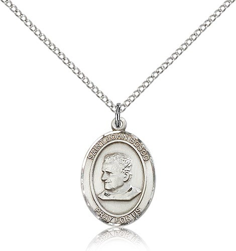 "St. John Bosco Medal, Sterling Silver, Medium - 18"" 1.2mm Sterling Silver Chain + Clasp"