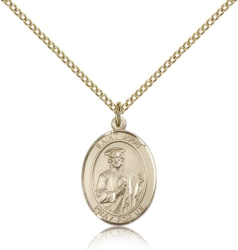 St. Jude Thaddeus Medal, Gold Filled, Medium - Gold-tone