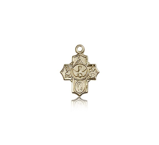 5 Way Cross Pendant, 14 Karat Gold - 14 KT Yellow Gold