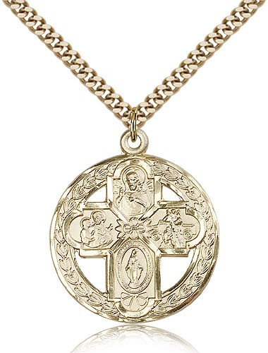 "4 Way Cross Pendant, Gold Filled - 24"" 2.4mm Gold Plated Endless Chain"