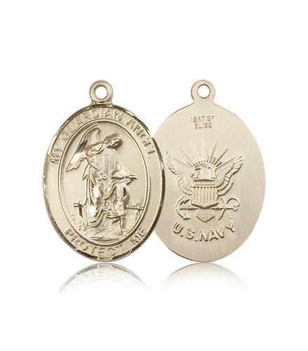 Guardian Angel Navy Medal, 14 Karat Gold, Large - 14 KT Yellow Gold