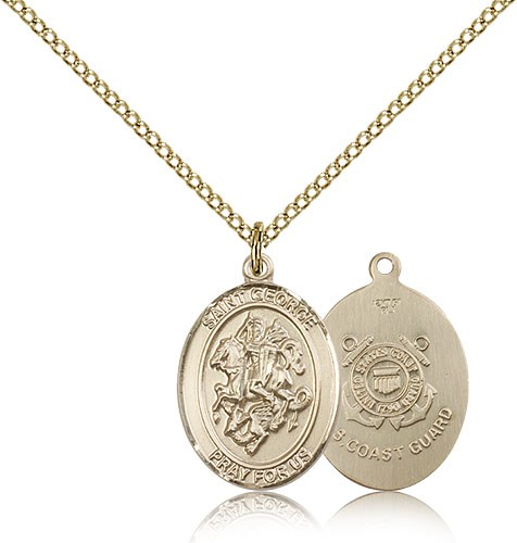 St. George Coast Guard Medal, Gold Filled, Medium - Gold-tone