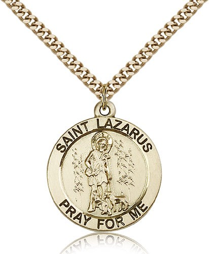 "St. Lazarus Medal, Gold Filled - 24"" 2.4mm Gold Plated Endless Chain"