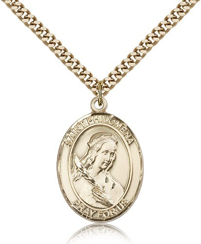 "St. Philomena Medal, Gold Filled, Large - 24"" 2.4mm Gold Plated Chain + Clasp"