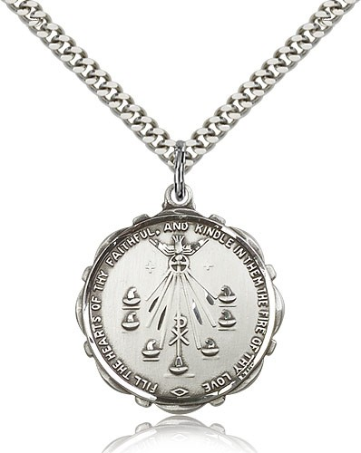 "Seven Gifts Medal, Sterling Silver - 24"" 2.4mm Rhodium Plate Endless Chain"