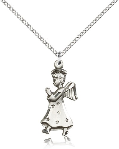 "Angel Medal, Sterling Silver - 18"" 1.2mm Sterling Silver Chain + Clasp"