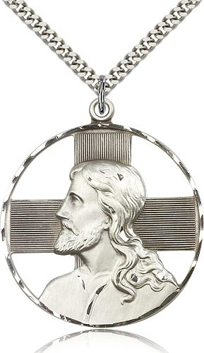 "Christ Profile Necklace, Sterling Silver - 24"" 2.4mm Rhodium Plate Endless Chain"
