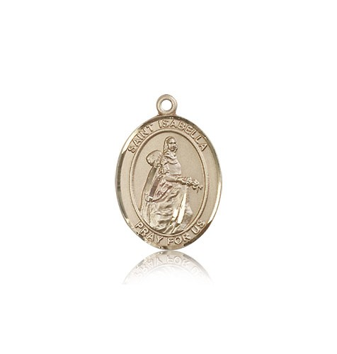 St. Isabella of Portugal Medal, 14 Karat Gold, Medium - 14 KT Yellow Gold