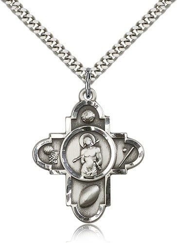 "Sports 5 Way Cross St Sebastian Medal, Sterling Silver - 24"" 2.4mm Rhodium Plate Endless Chain"
