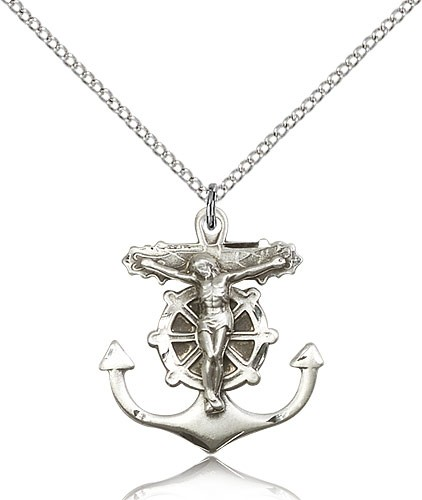 "Anchor Crucifix Pendant, Sterling Silver - 18"" 1.2mm Sterling Silver Chain + Clasp"