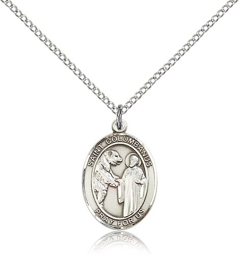 "St. Columbanus Medal, Sterling Silver, Medium - 18"" 1.2mm Sterling Silver Chain + Clasp"