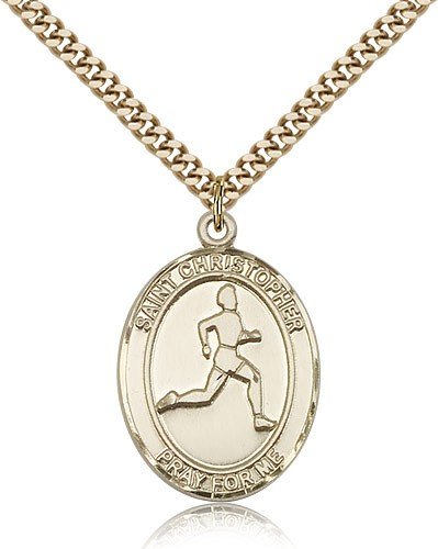 "St. Christopher Track and Field Medal, Gold Filled, Large - 24"" 2.4mm Gold Plated Chain + Clasp"