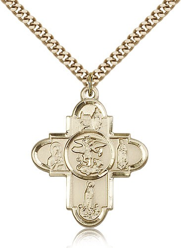 "Our Lady 5 Way Cross Pendant, Gold Filled - 24"" 2.4mm Gold Plated Endless Chain"