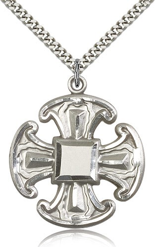 "Cross Pendant, Sterling Silver - 24"" 2.4mm Rhodium Plate Endless Chain"