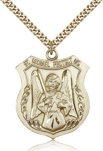 "St. Michael the Archangel Medal, Gold Filled - 24"" 2.4mm Gold Plated Endless Chain"