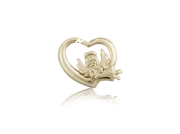 Heart Guardian Angel Medal, 14 Karat Gold - 14 KT Yellow Gold