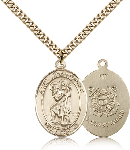 "St. Christopher Coast Guard Medal, Gold Filled, Large - 24"" 2.4mm Gold Plated Chain + Clasp"