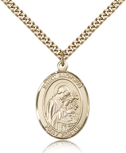 "St. Aloysius Gonzaga Medal, Gold Filled, Large - 24"" 2.4mm Gold Plated Chain + Clasp"