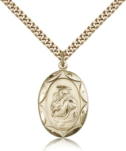 "St. Anthony Medal, Gold Filled - 24"" 2.4mm Gold Plated Endless Chain"