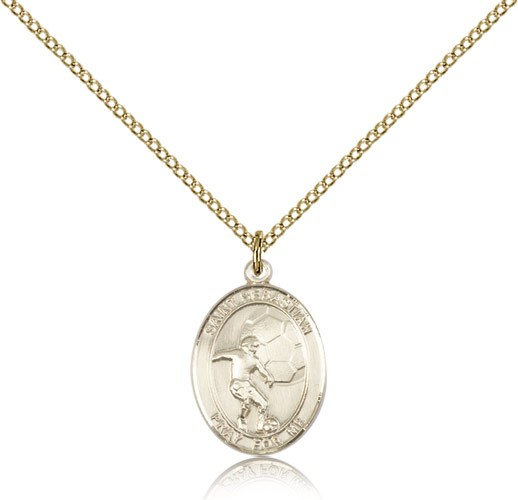 St. Sebastian Soccer Medal, Gold Filled, Medium - Gold-tone