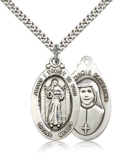 "Divine Mercy Medal, Sterling Silver - 24"" 2.4mm Rhodium Plate Endless Chain"