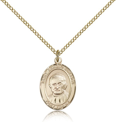 St. Arnold Janssen Medal, Gold Filled, Medium - Gold-tone