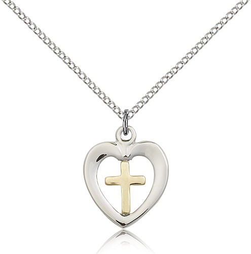 "Heart Cross Pendant, Two-Tone - 18"" 1.2mm Sterling Silver Chain + Clasp"