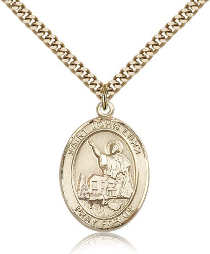 "St. John Licci Medal, Gold Filled, Large - 24"" 2.4mm Gold Plated Chain + Clasp"