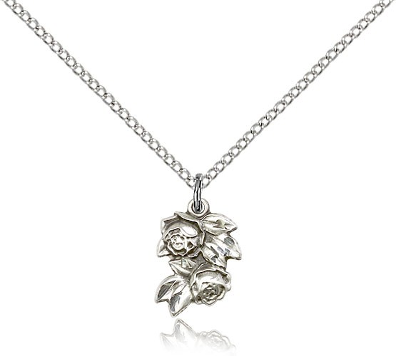 "Rose Medal, Sterling Silver - 18"" 1.2mm Sterling Silver Chain + Clasp"