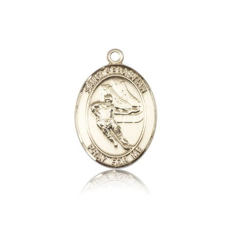 St. Sebastian Hockey Medal, 14 Karat Gold, Medium - 14 KT Yellow Gold