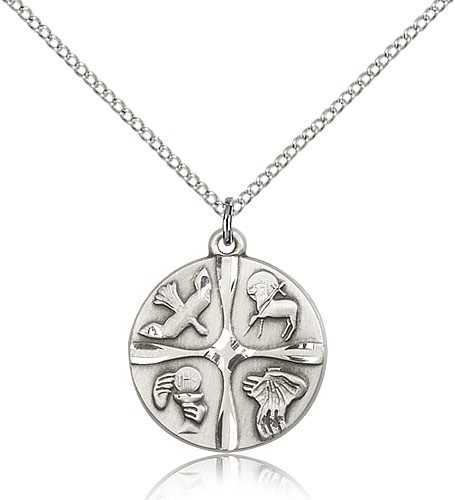 "Christian Life Medal, Sterling Silver - 18"" 1.2mm Sterling Silver Chain + Clasp"